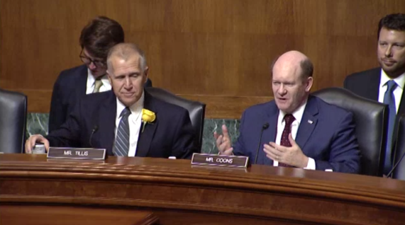"Senator Tillis, Chairman, and Senator Coons, Ranking Member, welcome the participants of the ""State of Patent Eligibility in America"" hearing."""